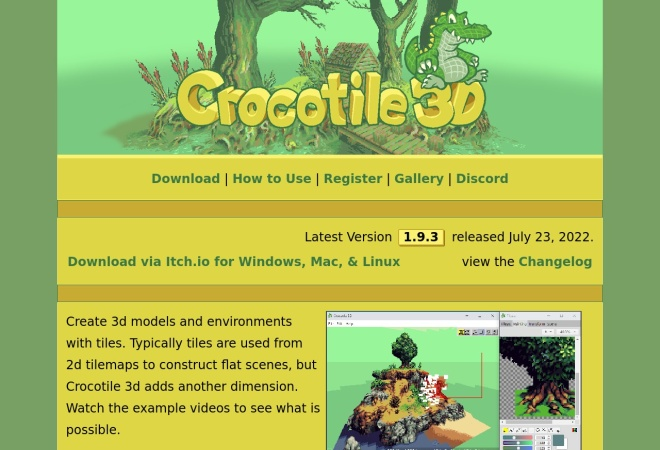 Screenshot of crocotile3d.com