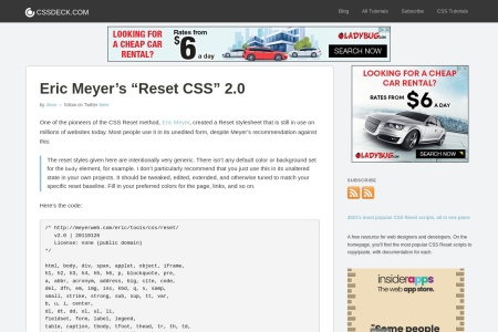 Screenshot of cssreset.com