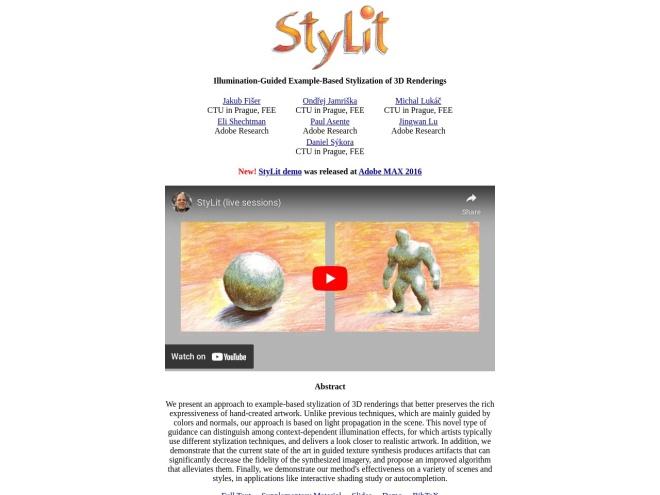 http://dcgi.fel.cvut.cz/home/sykorad/stylit