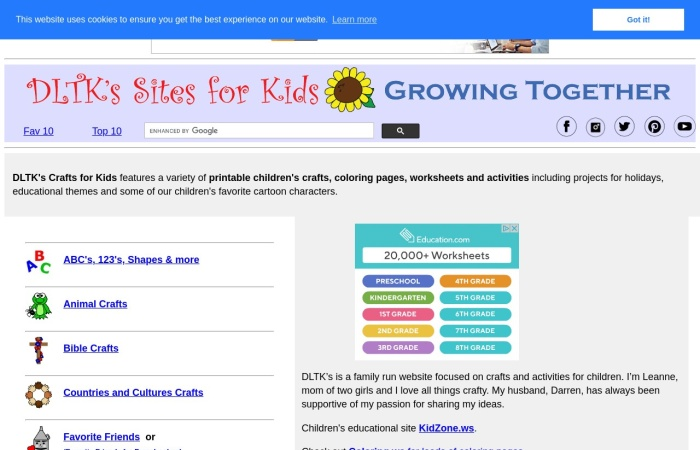 Screenshot of dltk-kids.com