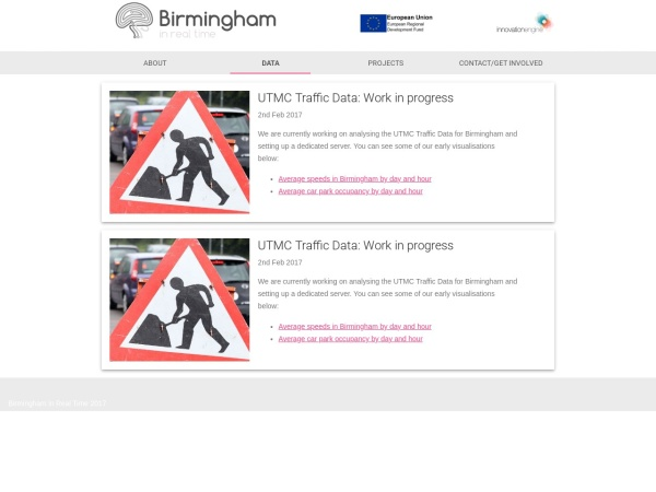 Birmingham in Real Time website