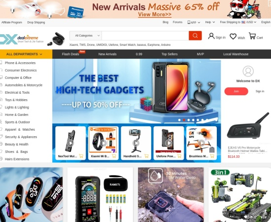 Screenshot of dx.com