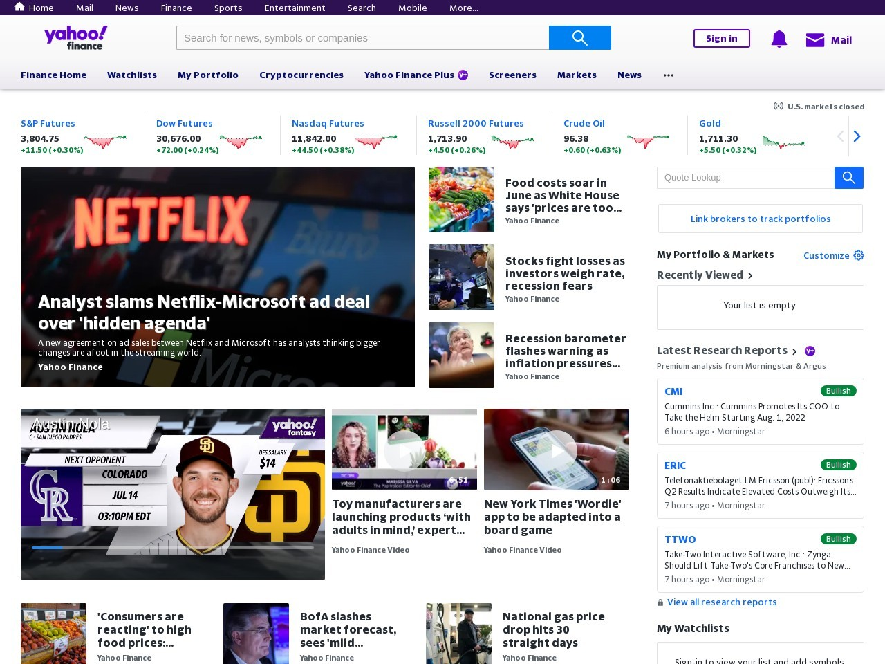 Screenshot of finance.yahoo.com