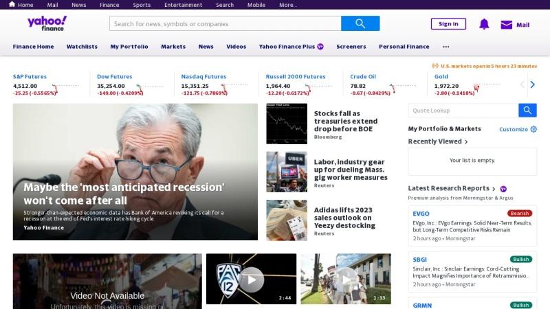 Screenshot of finance.yahoo.com