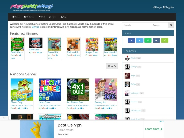 Screenshot of freesmartgames.com