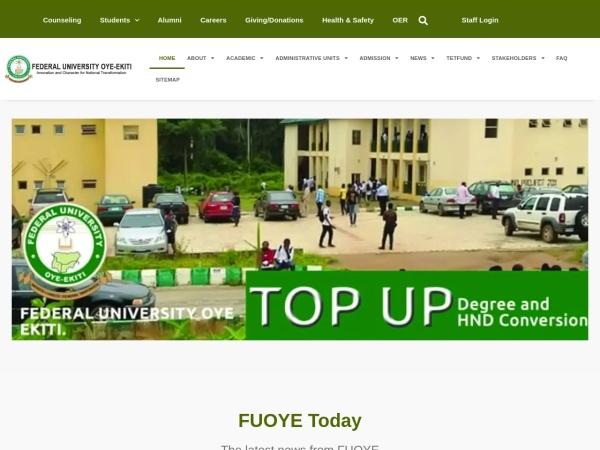 Screenshot of fuoye.edu.ng