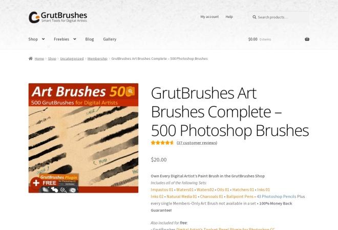 Screenshot of grutbrushes.com