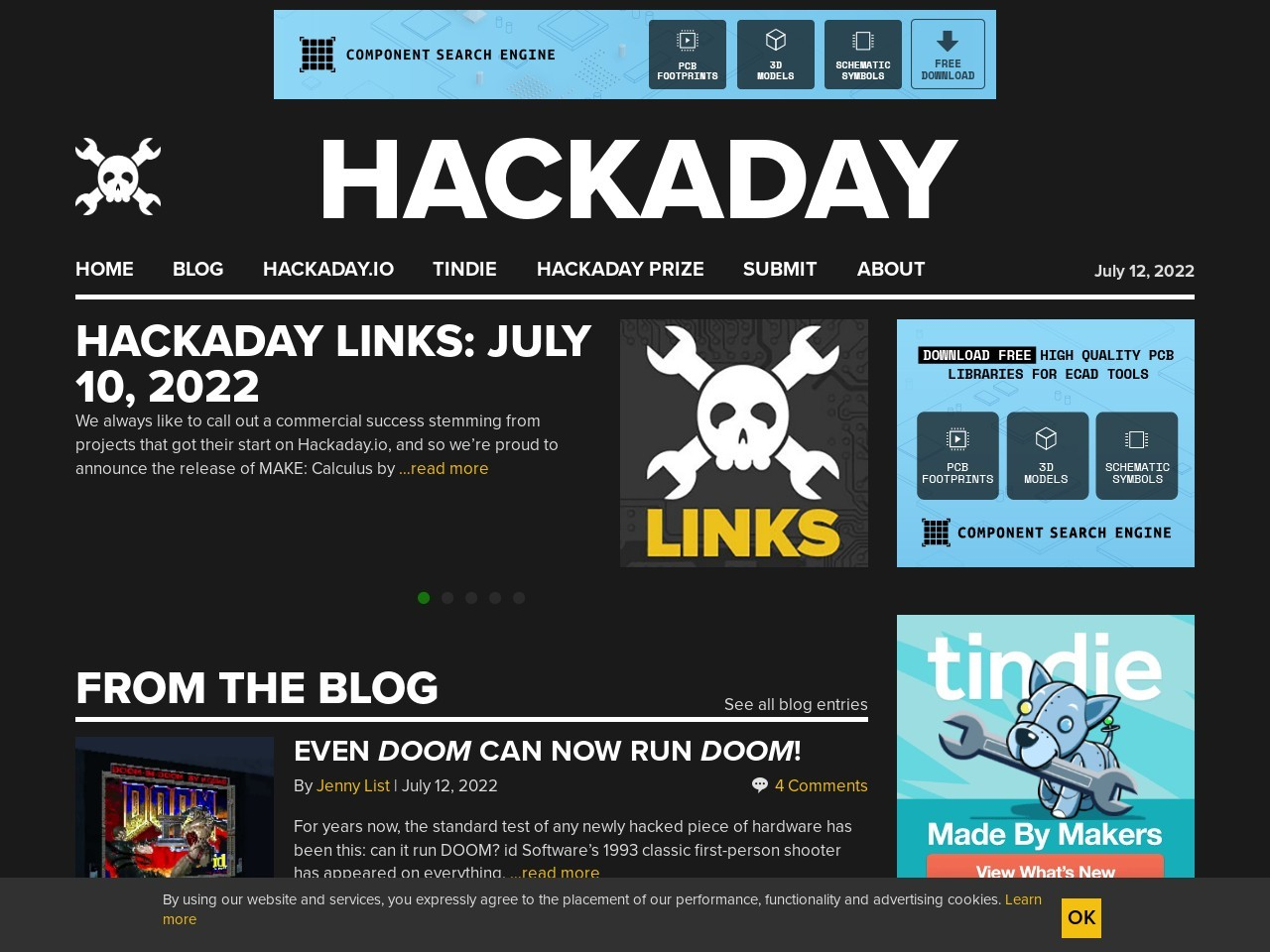 Screenshot of hackaday.com