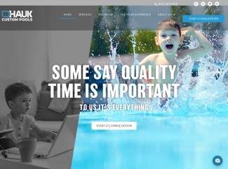 Screenshot of haukcustompools.com