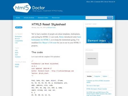 http://html5doctor.com/html-5-reset-stylesheet/