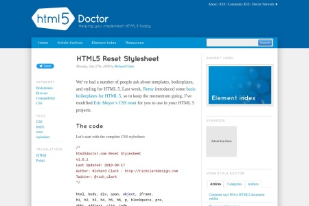 Screenshot of html5doctor.com
