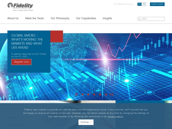 Screenshot of institutional.fidelity.ca