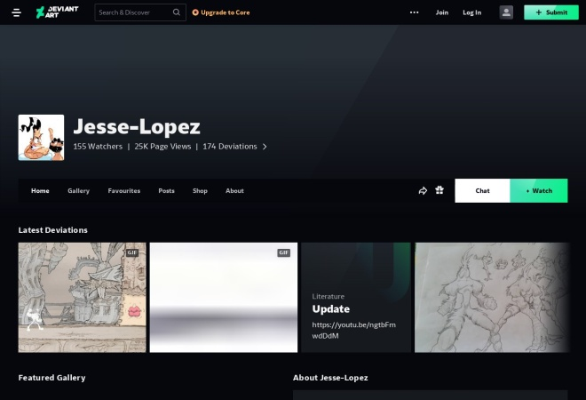 Screenshot of jesse-lopez.deviantart.com