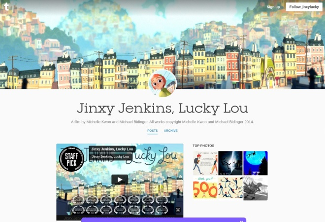 Screenshot of jinxylucky.tumblr.com