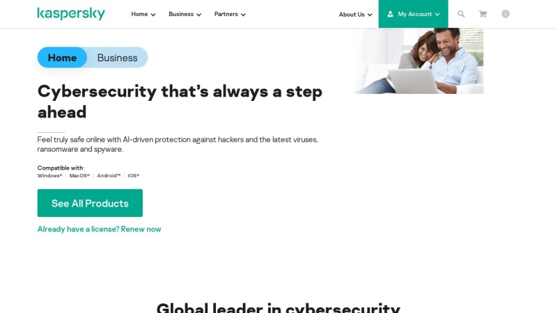 Screenshot of kaspersky.com