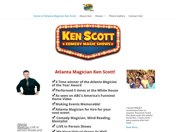 Screenshot of kenscottmagic.com