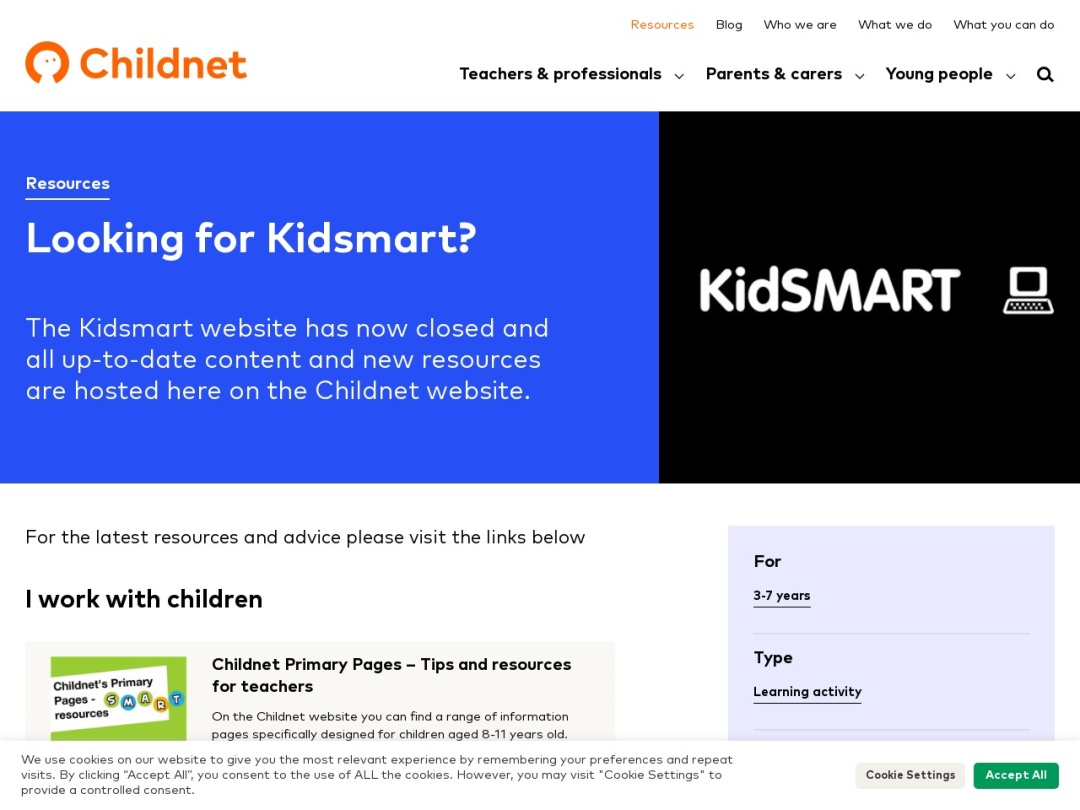 Screenshot of kidsmart.org.uk