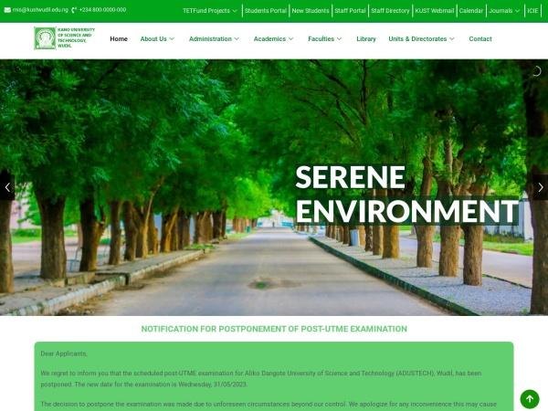 Screenshot of kustwudil.edu.ng