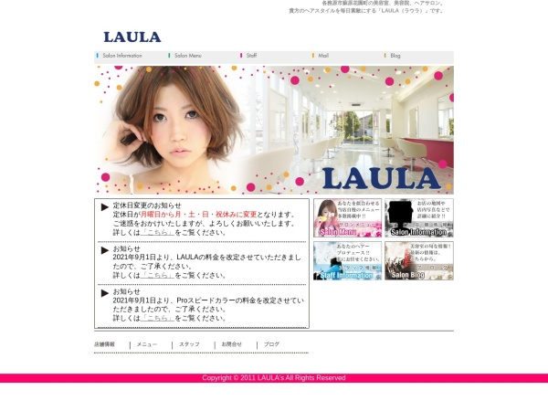 Screenshot of laula-hair.com