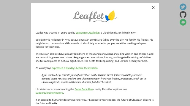 Screenshot of leafletjs.com