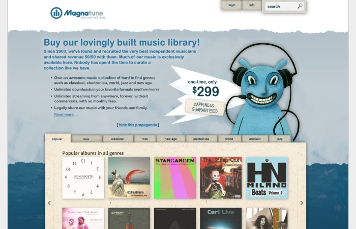 Screenshot of magnatune.com