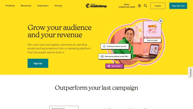 Screenshot of mailchimp.com