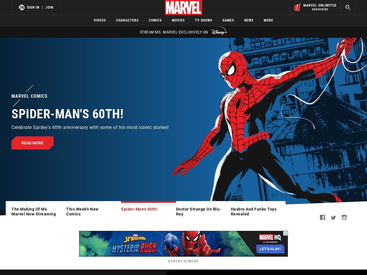 Screenshot of marvel.com