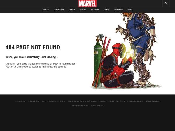 Screenshot of marvel.com