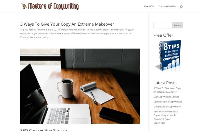 Screenshot of mastersofcopywriting.com