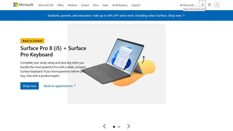 Screenshot of microsoft.com
