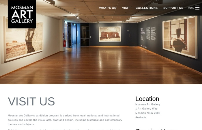 Screenshot of mosmanartgallery.org.au