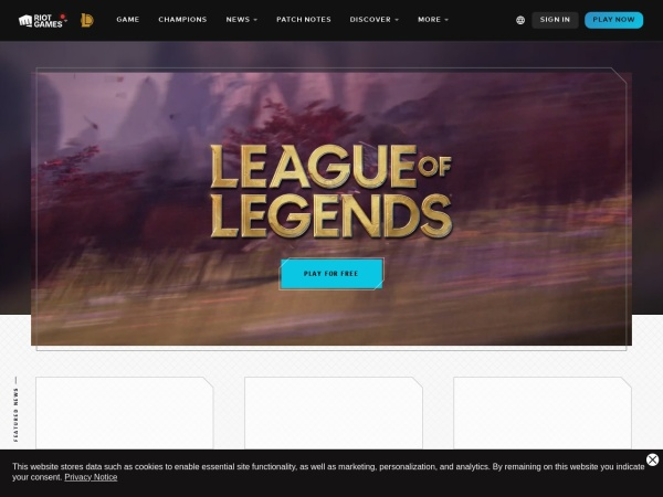 Screenshot of na.leagueoflegends.com