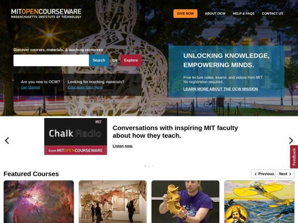 Screenshot of ocw.mit.edu