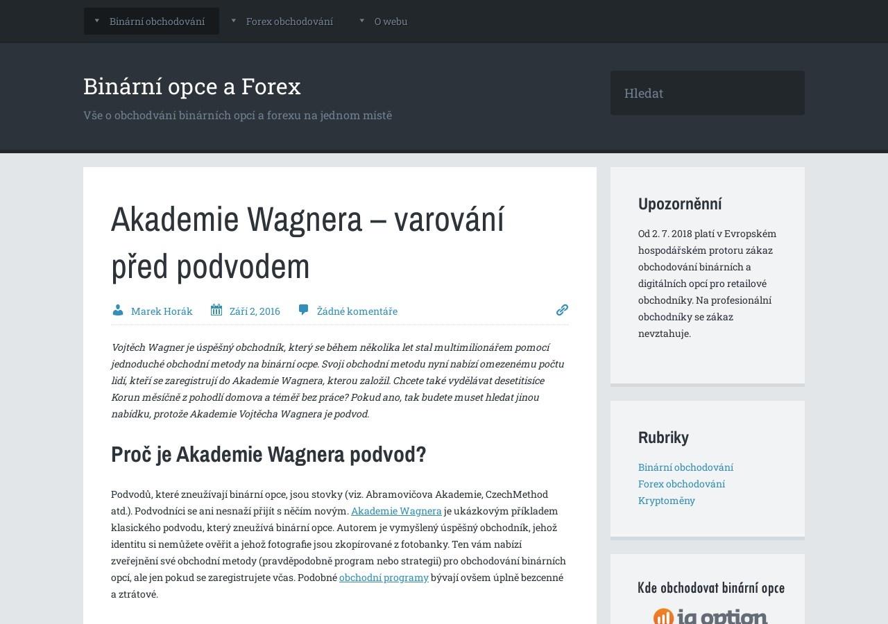 Akademie Wagnera – varování před podvodem (Zdroj: Wordpress.com)