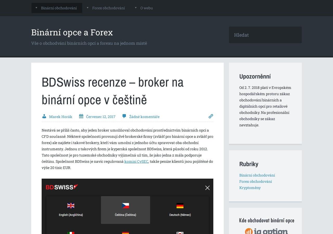 BDSwiss recenze – broker na binární opce v češtině (Zdroj: Wordpress.com)