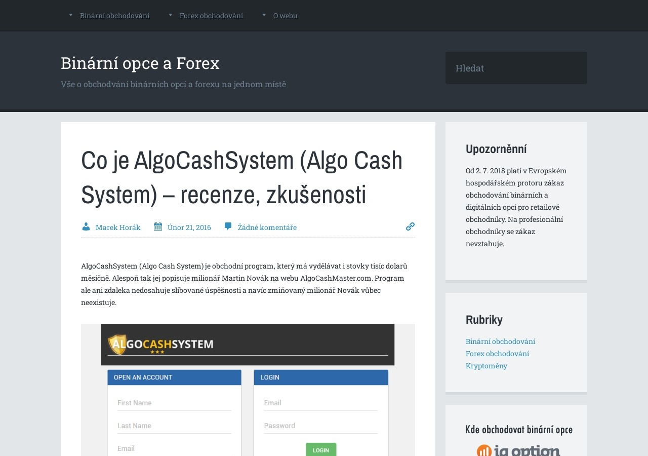 Co je AlgoCashSystem (Algo Cash System) – recenze, zkušenosti (Zdroj: Wordpress.com)