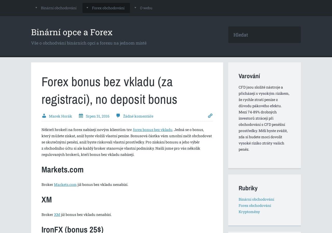 Forex bonus bez vkladu (za registraci), no deposit bonus (Zdroj: Wordpress.com)