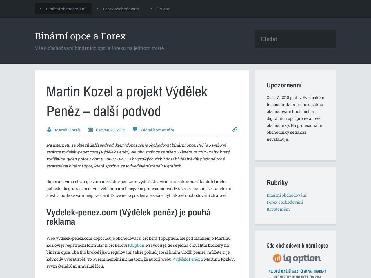 Martin Kozel a projekt Výdělek Peněz – další podvod (Zdroj: Wordpress.com)