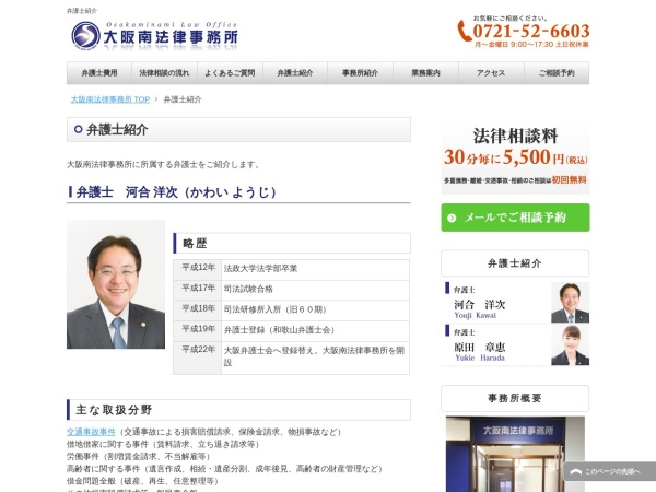 Screenshot of osakaminami-law.com