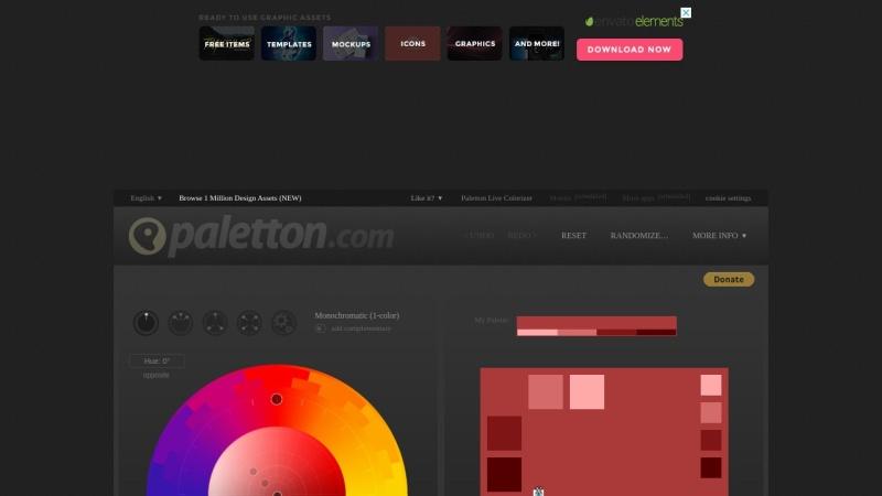 Screenshot von paletton.com
