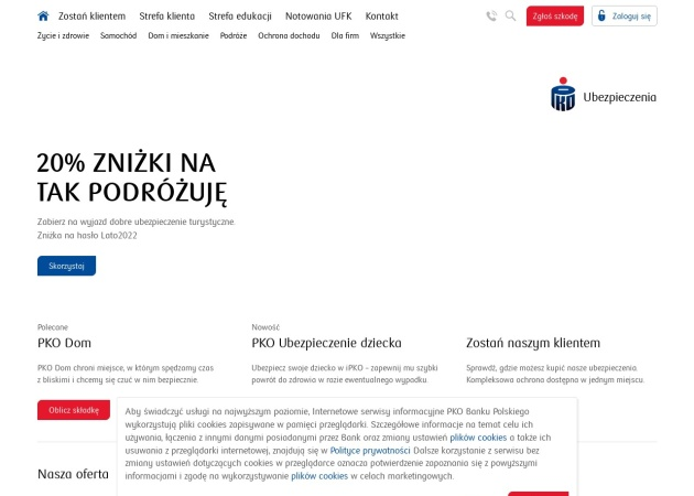 Screenshot of pkoubezpieczenia.pl
