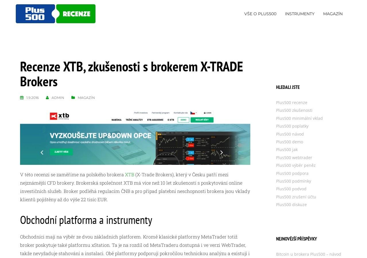 Recenze XTB, zkušenosti s brokerem X-TRADE Brokers (Zdroj: Wordpress.com)