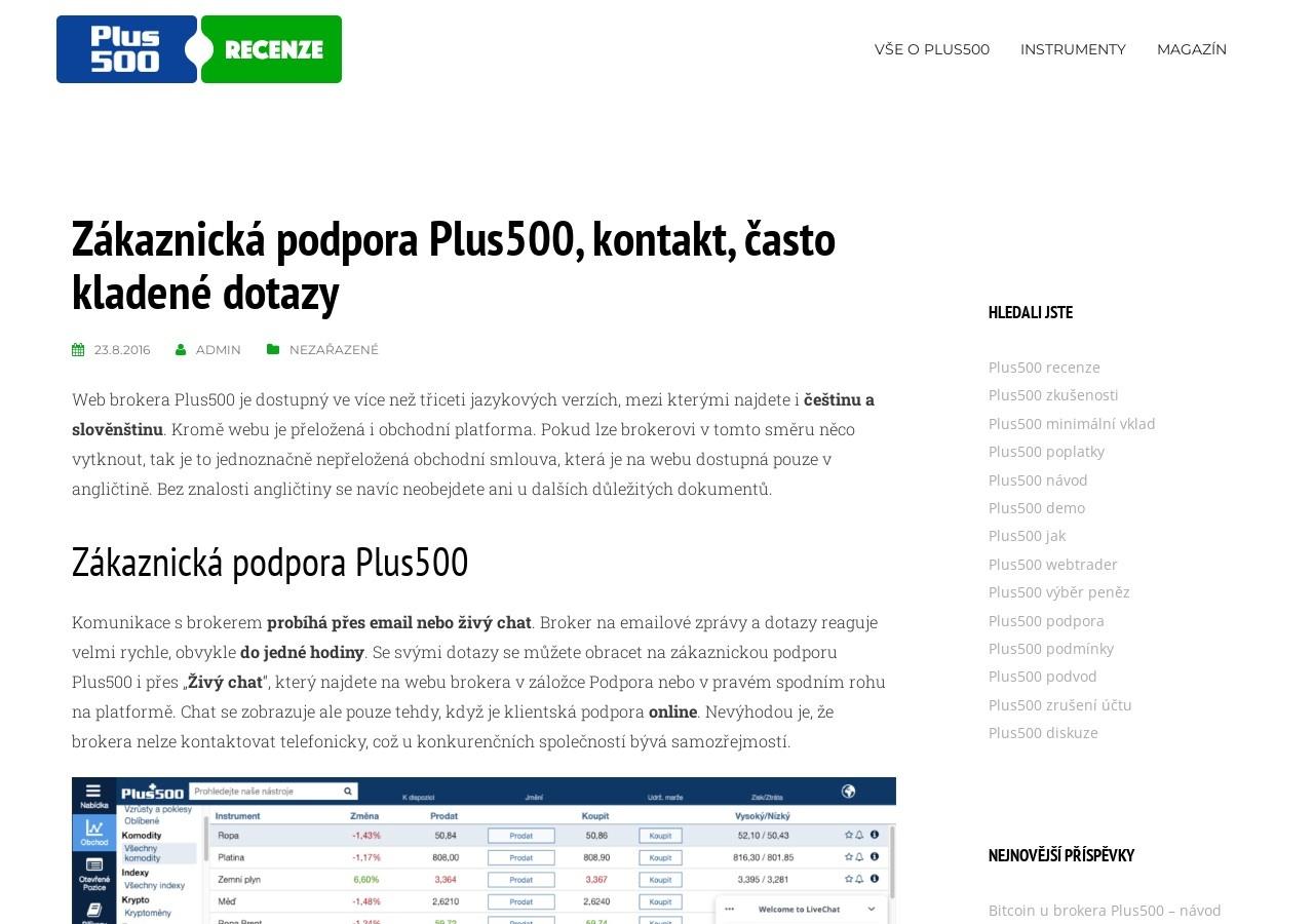 Zákaznická podpora Plus500, kontakt, často kladené dotazy (Zdroj: Wordpress.com)