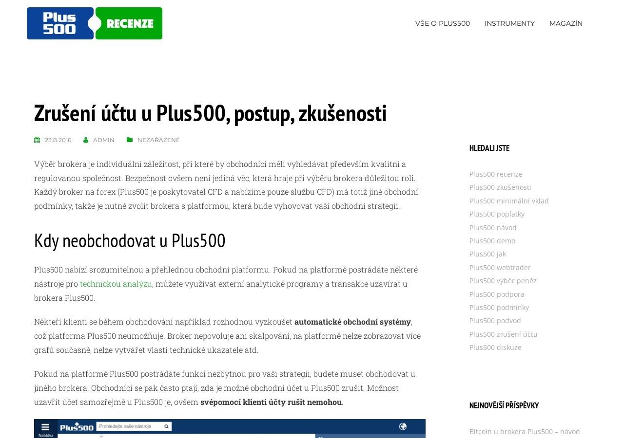 Zrušení účtu u Plus500, postup, zkušenosti (Zdroj: Wordpress.com)
