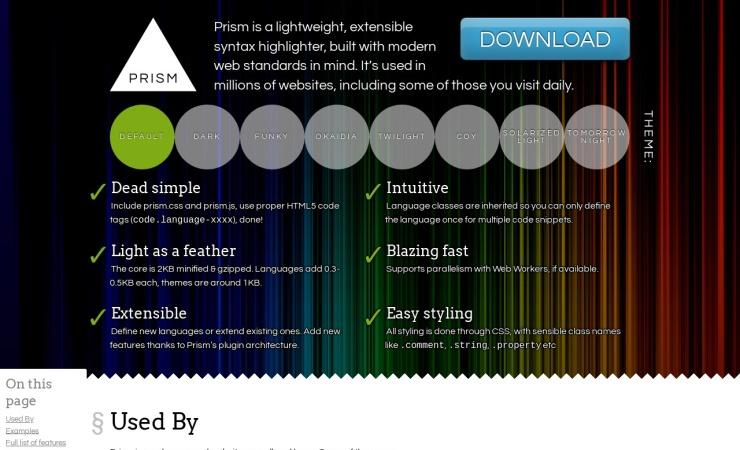 Screenshot of prismjs.com