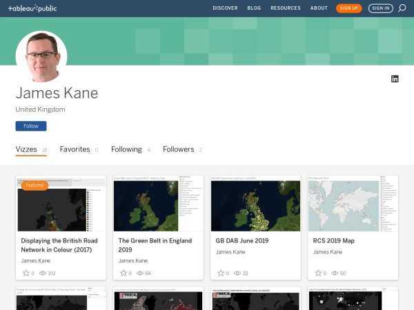 Tableau Public profile for James Kane
