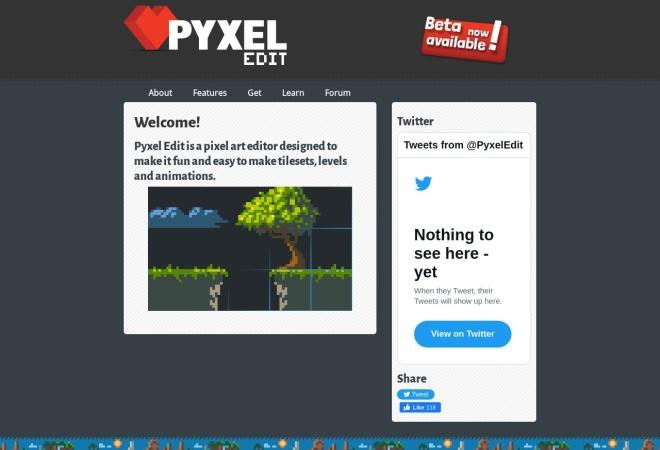 Screenshot of pyxeledit.com