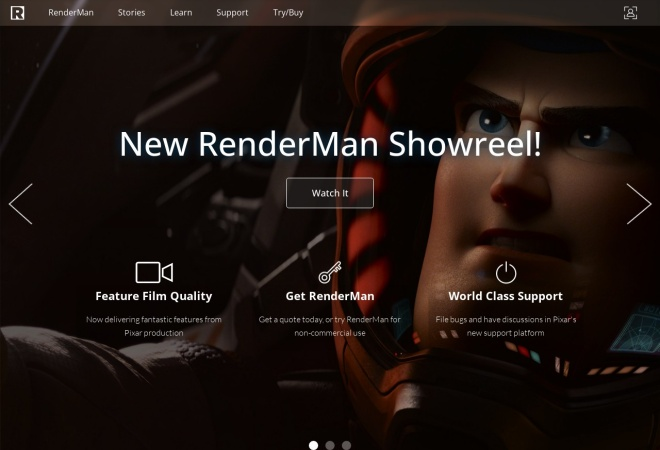Screenshot of renderman.pixar.com