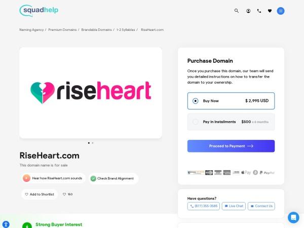 Screenshot of riseheart.com