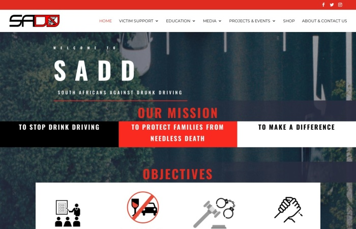 Screenshot of sadd.org.za